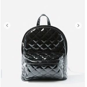 F21 Black Quilted Faux Patent Leather Backpack
